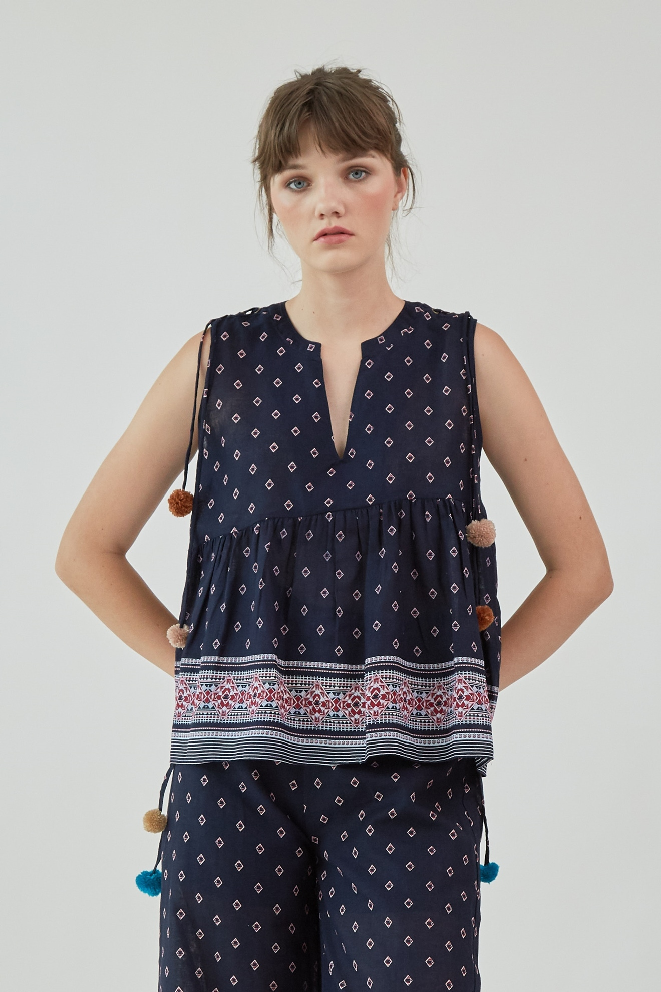 Picture of Judith Blouse Navy Pattern