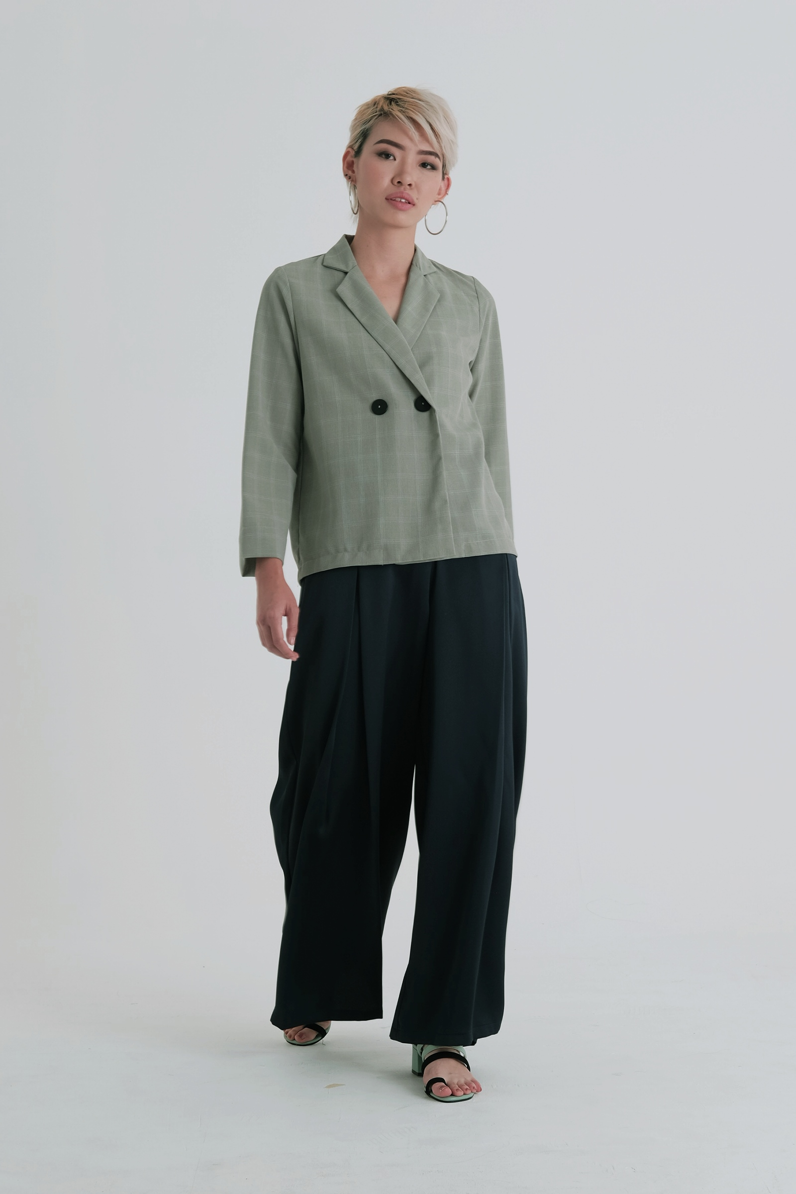 Picture of Jerta Blouse Sage Green Checkered