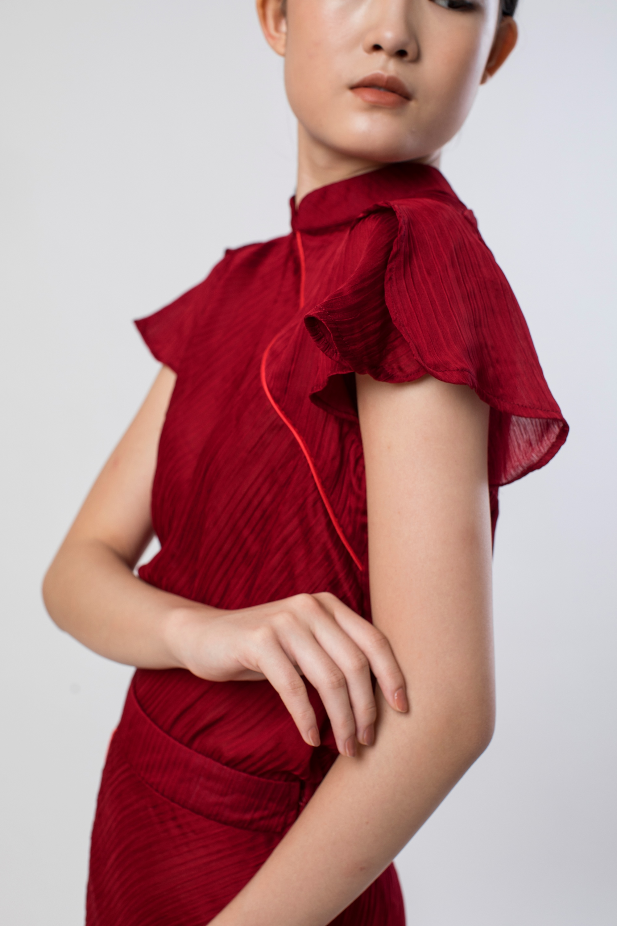Picture of PEONY PLEATS BLOUSE BIKING RED