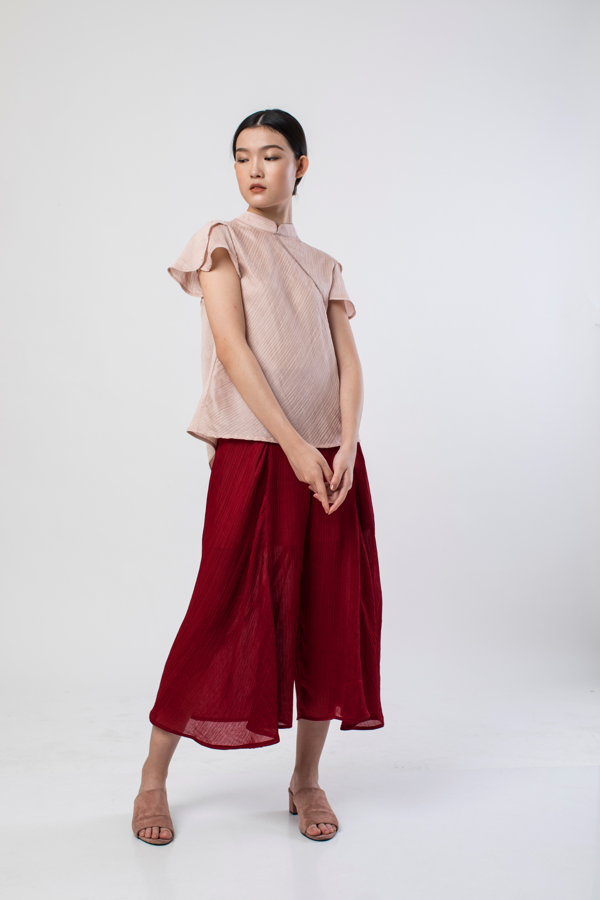 Picture of PEONY PLEATS BLOUSE ROSE NUDE