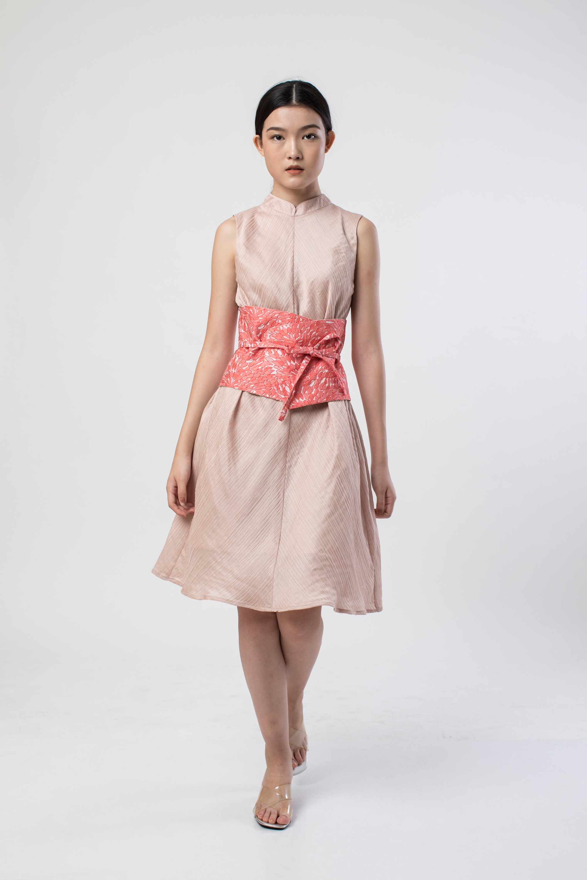 Picture of JADE PLEATS DRESS ROSE NUDE