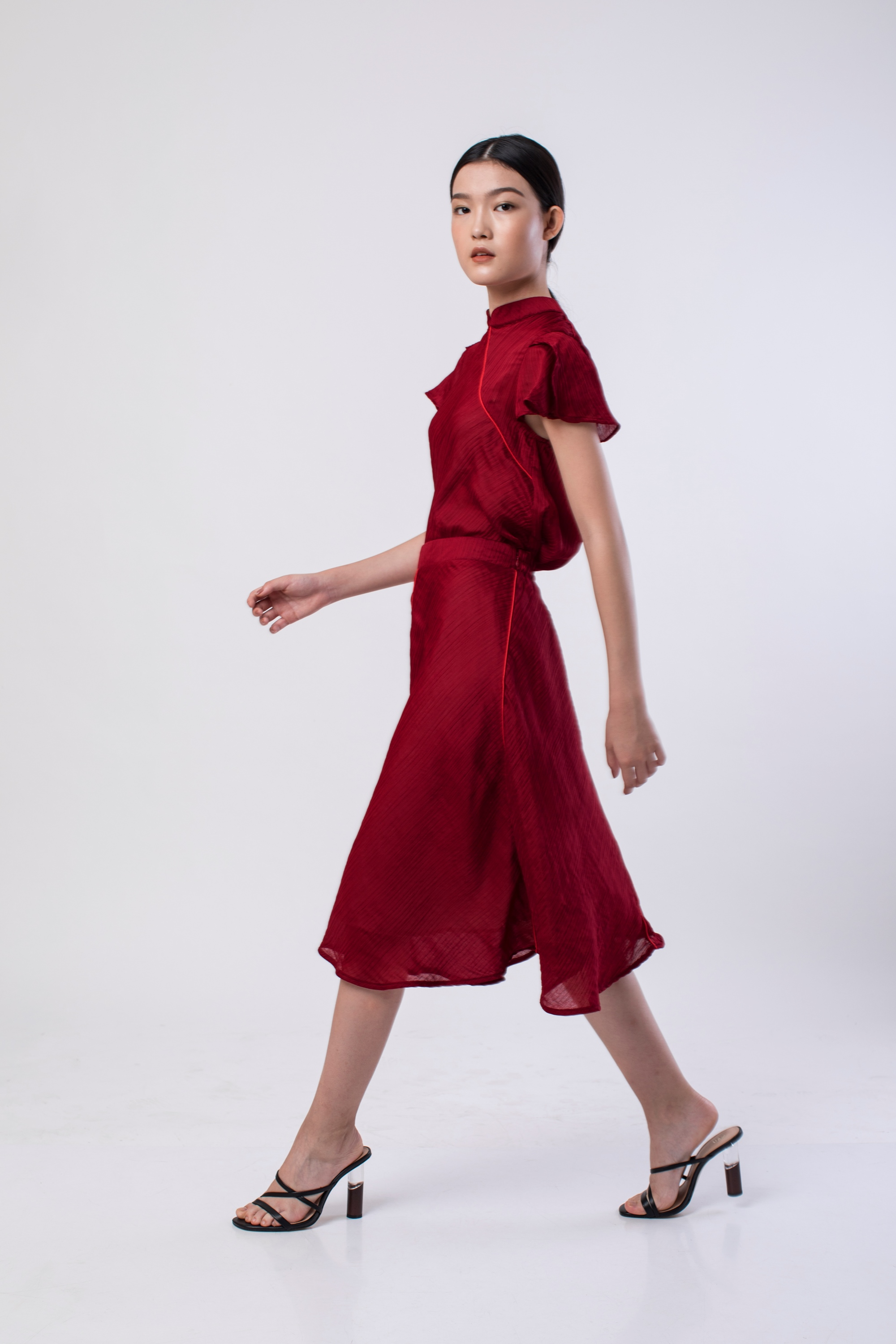 Picture of MARQUEZ PLEATS SKIRT BIKING RED