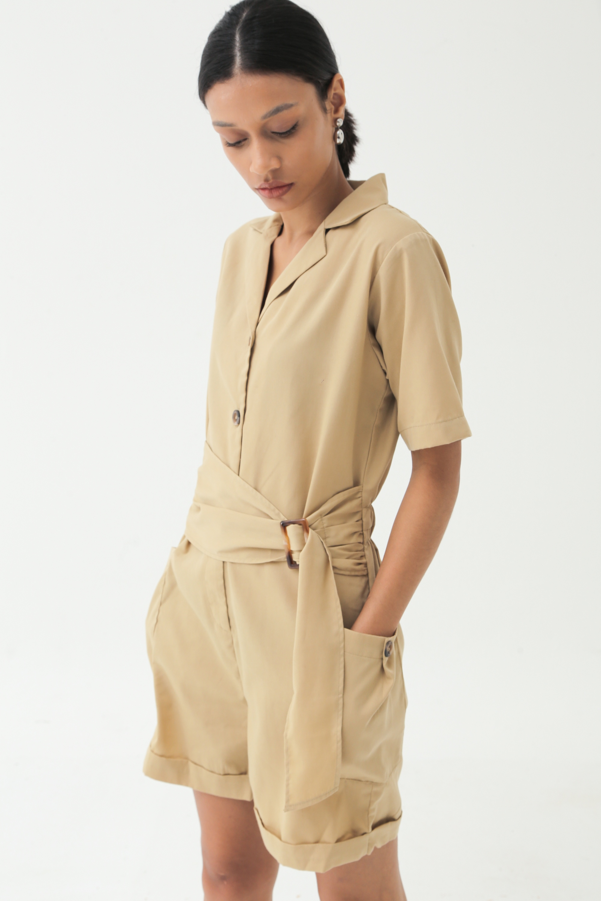 Picture of DARLENE PLAYSUIT KHAKI SAND