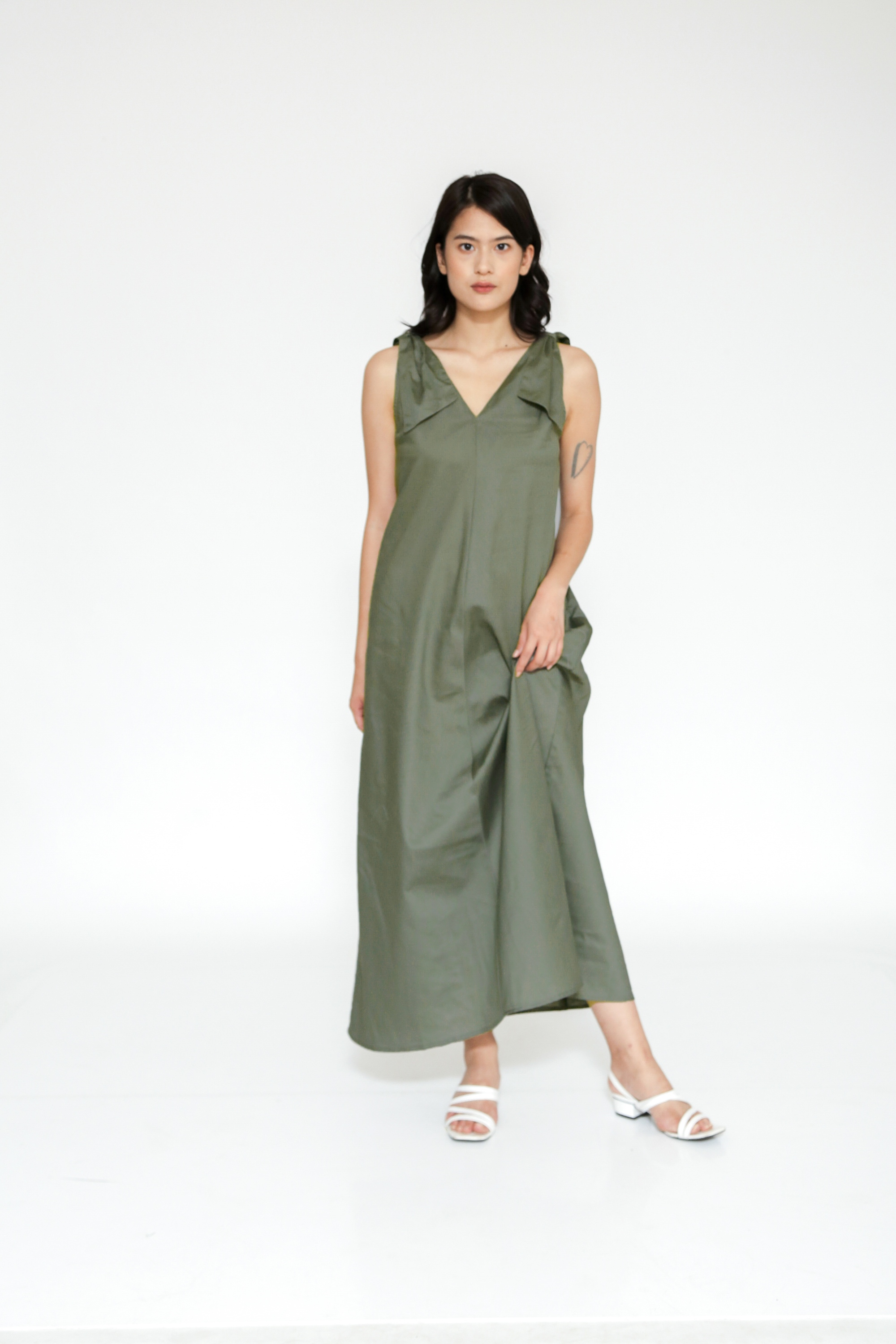Picture of CHIONE DRESS DARK OLIVE