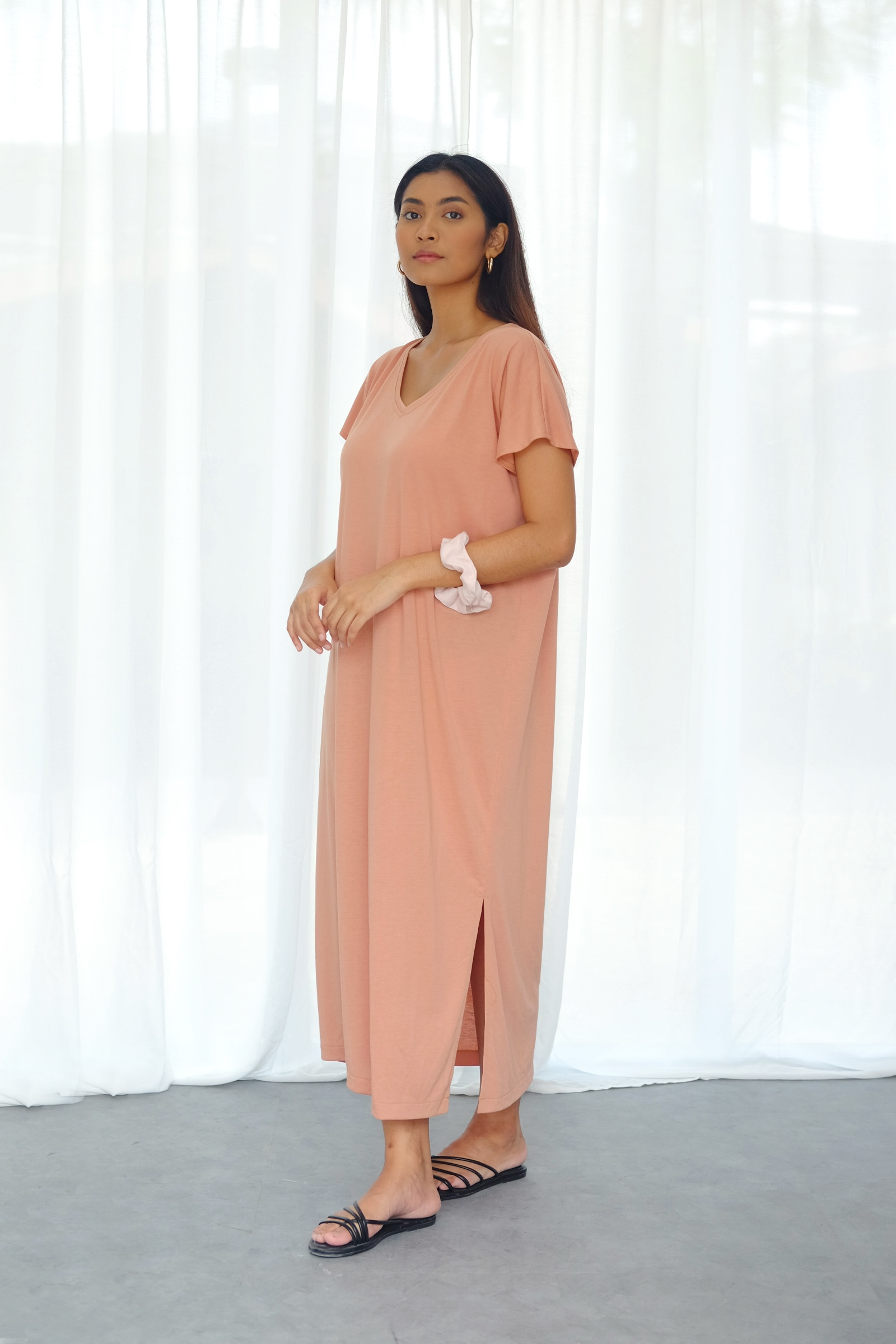 Picture of RACHEL T-SHIRT DRESS PEACH CORAL