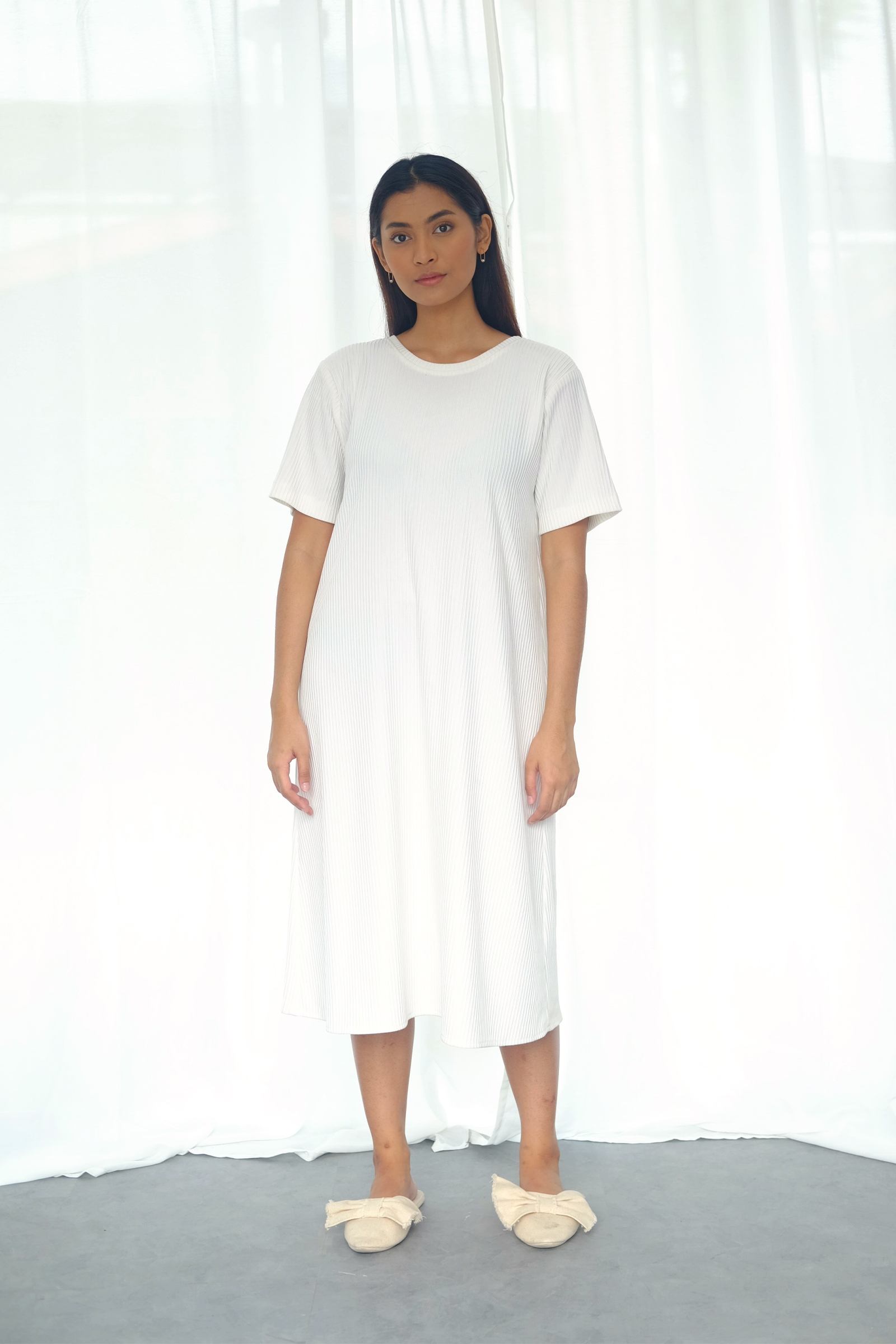 Picture of DANITA T-SHIRT  DRESS IVORY RIBBED