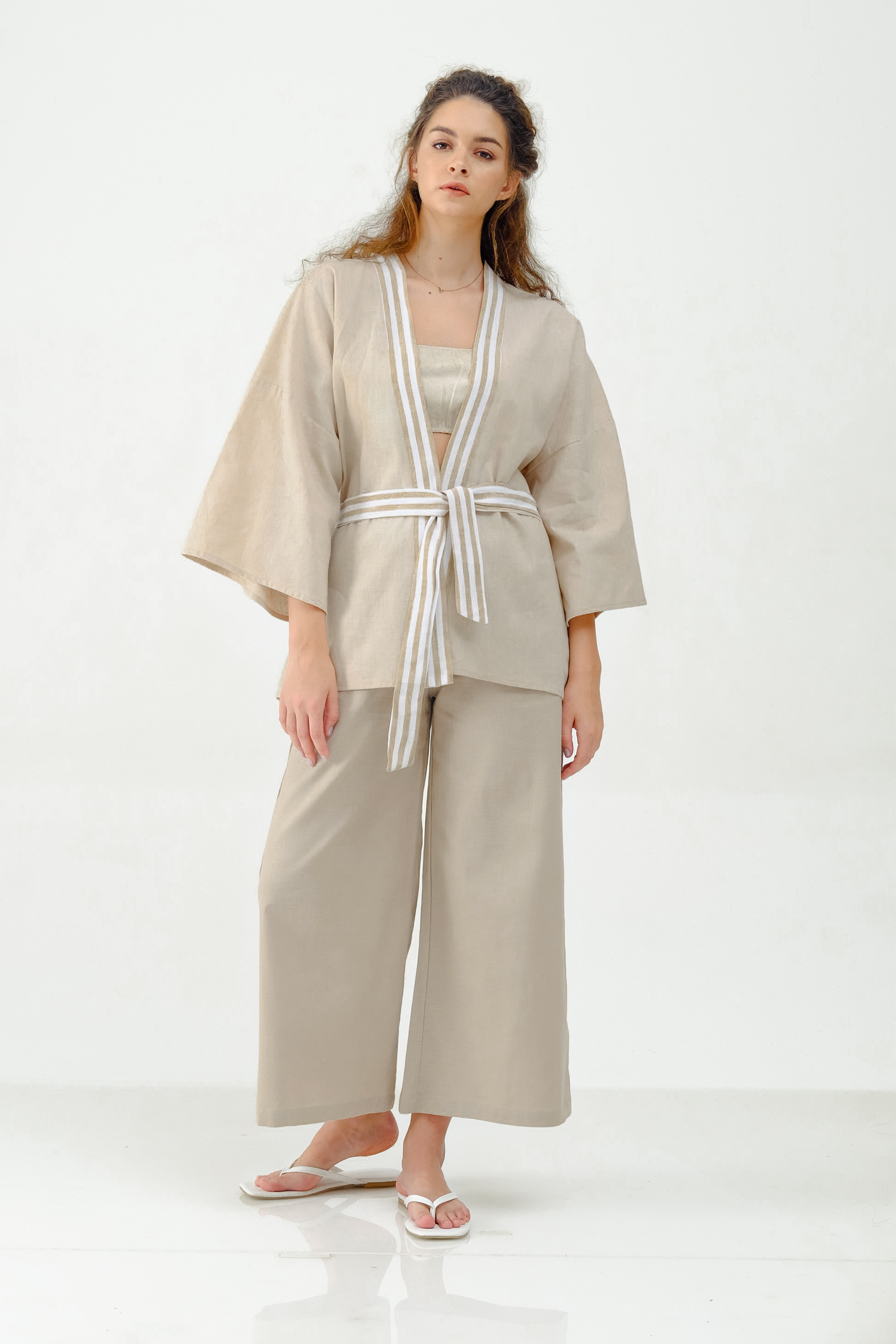 Picture of LUNIA SHORT ROBE CREAM STRIPES X POURIE
