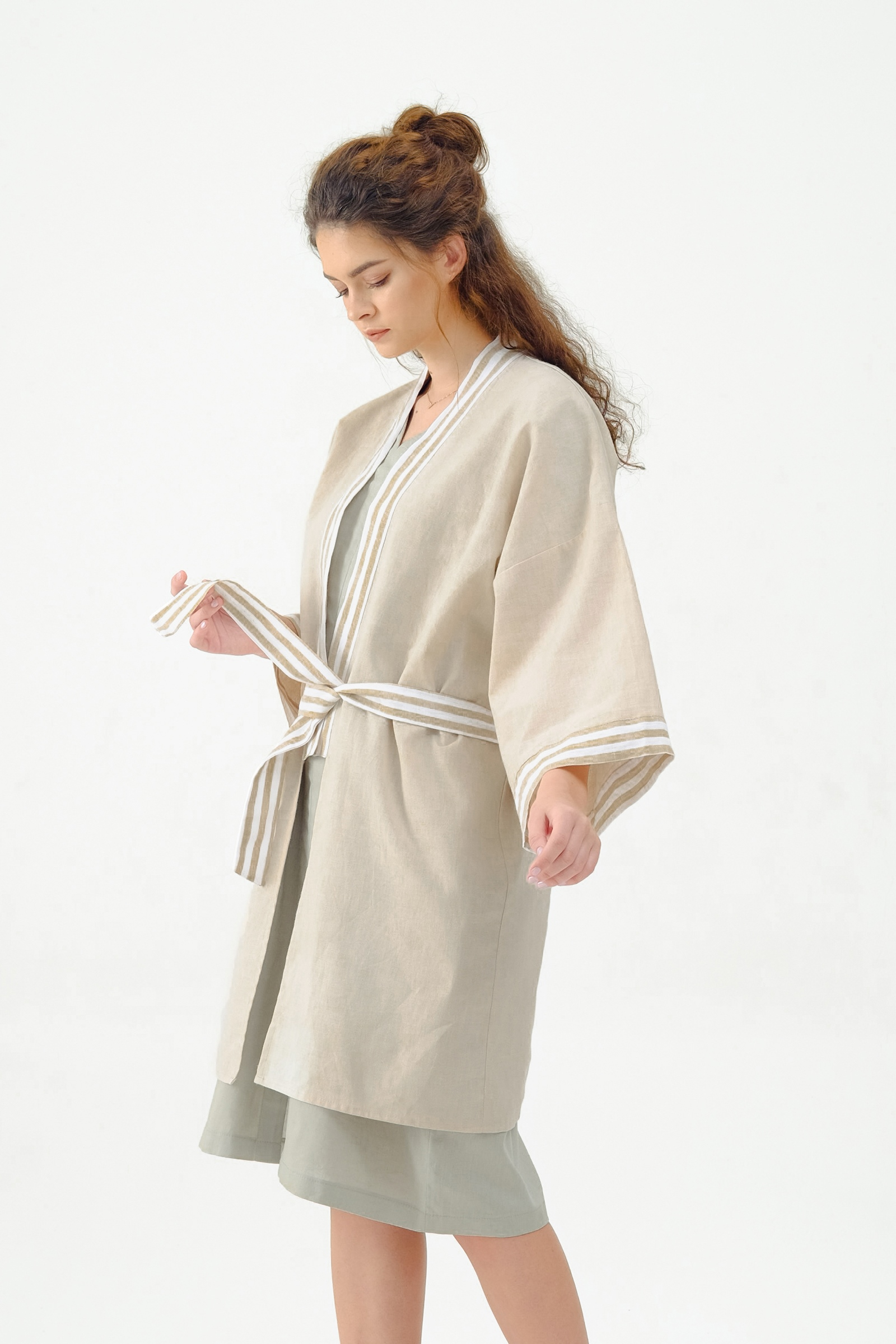 Picture of LIBBY LONG ROBE CREAM STRIPES X POURIE