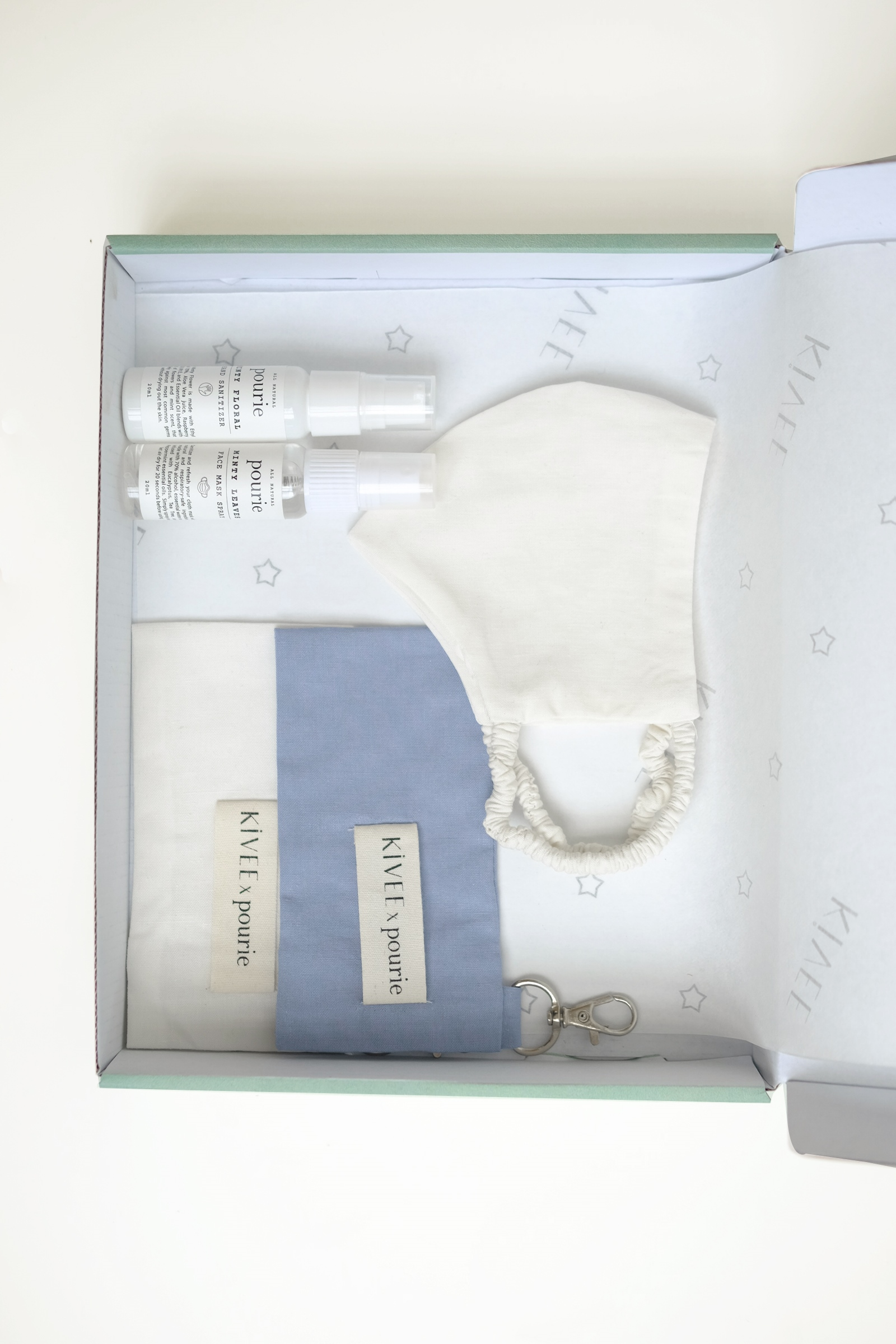 Picture of Kivee Home x Pourie Sanitizer And Face Mask Kit (Mask In Ivory)