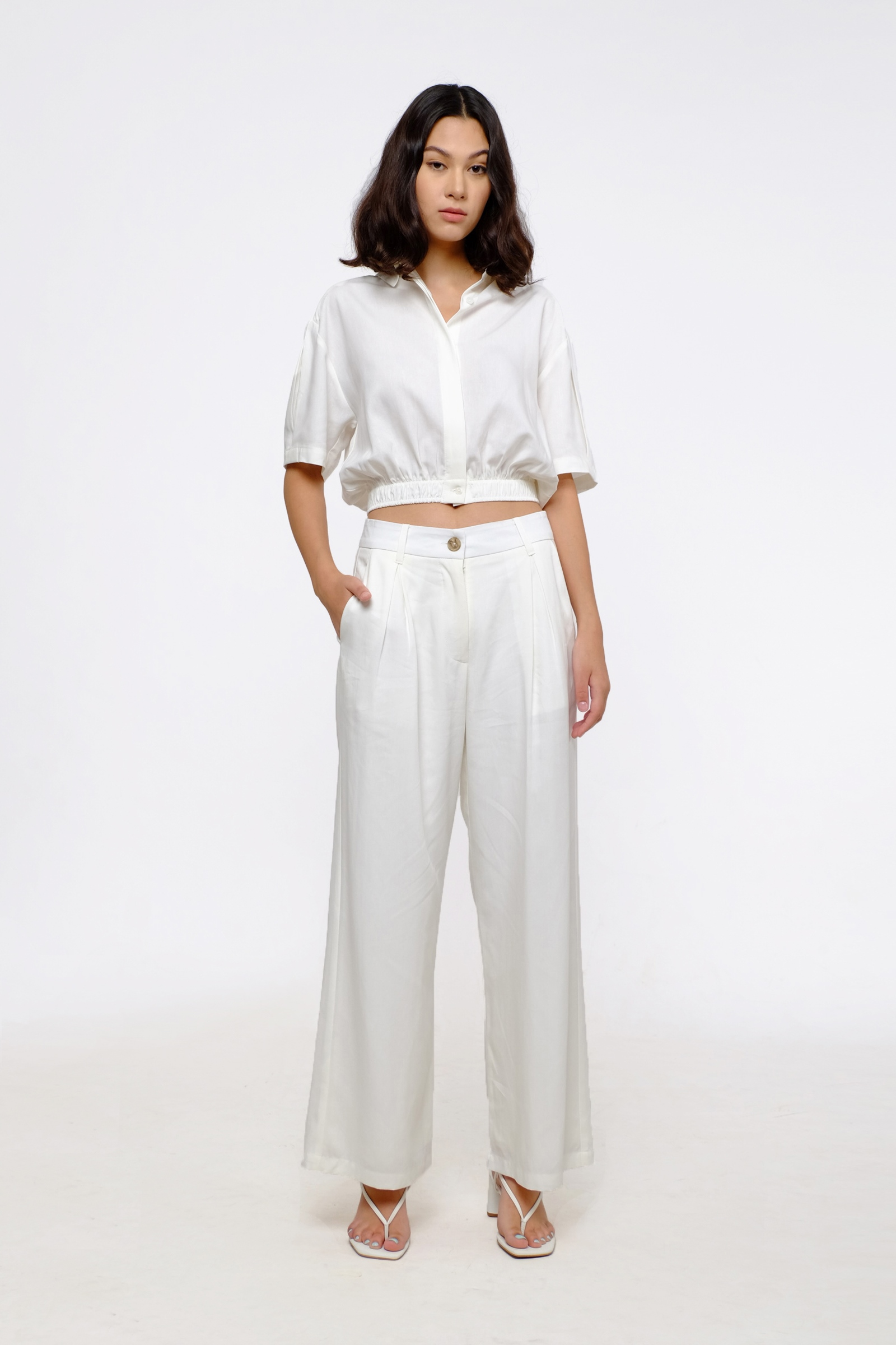 Picture of Christa Crop Shirt Ivory