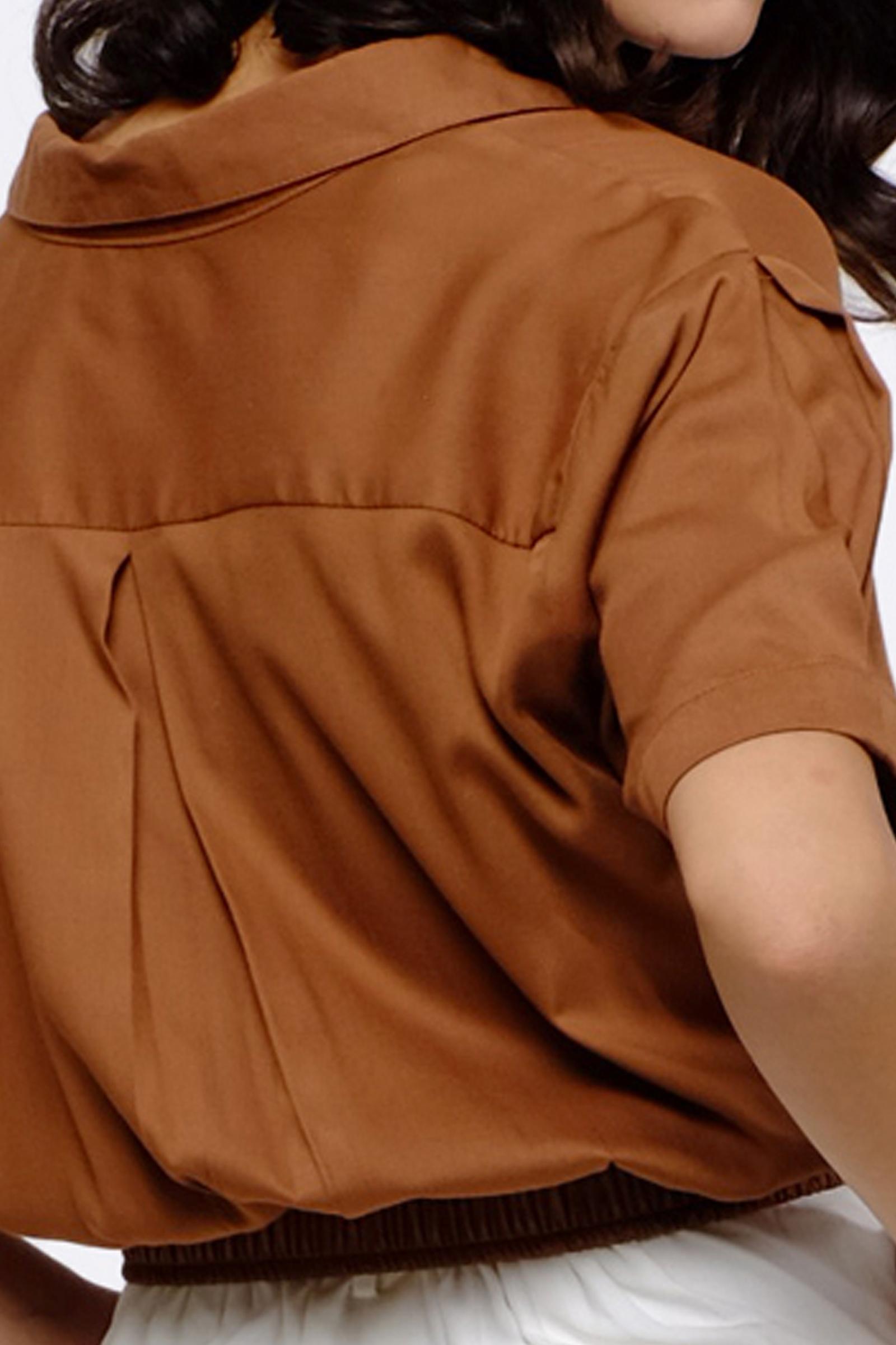 Picture of Cassie Crop Shirt Toffie Brown