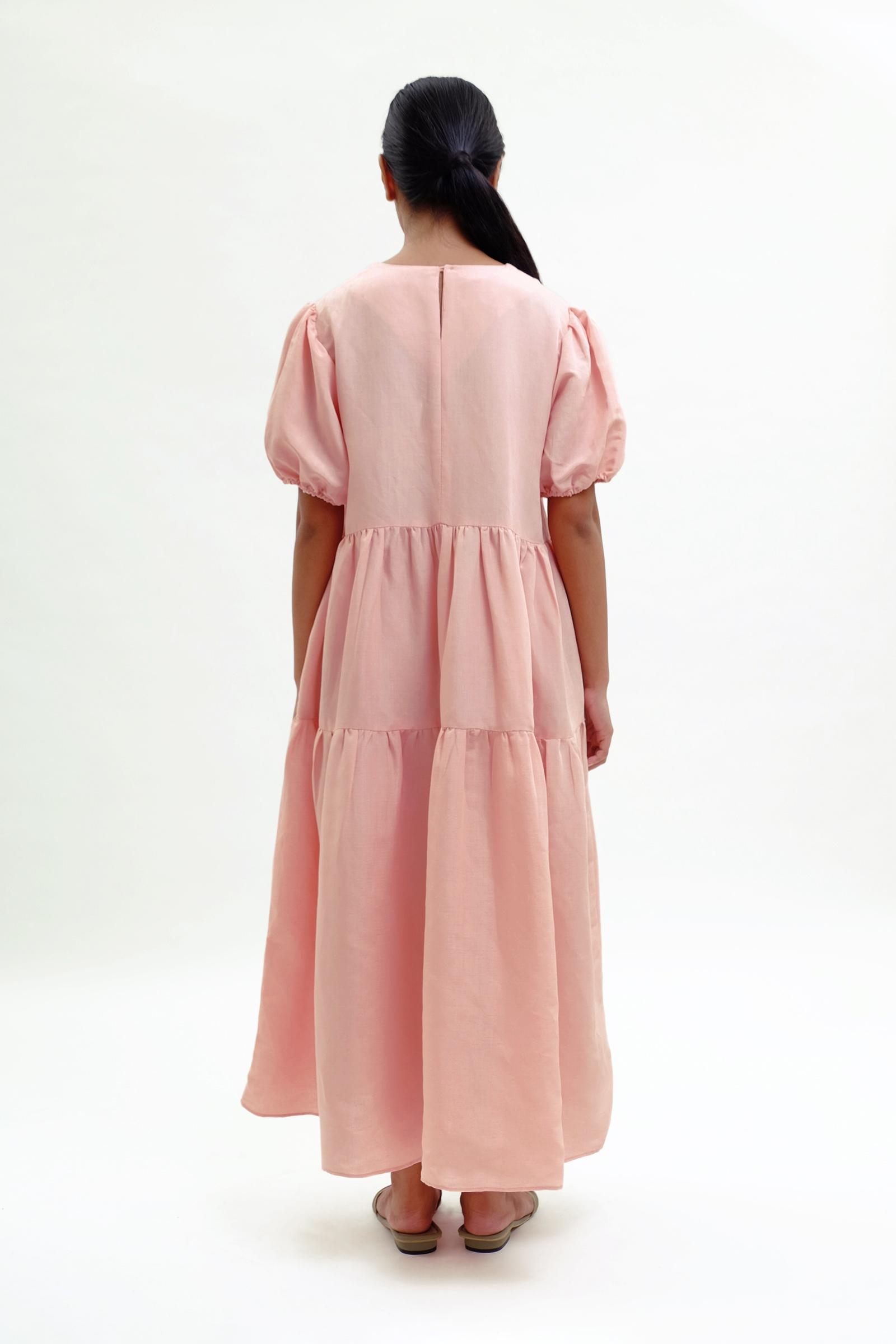 Picture of Demelza Tiered Dress  Rose Quartz