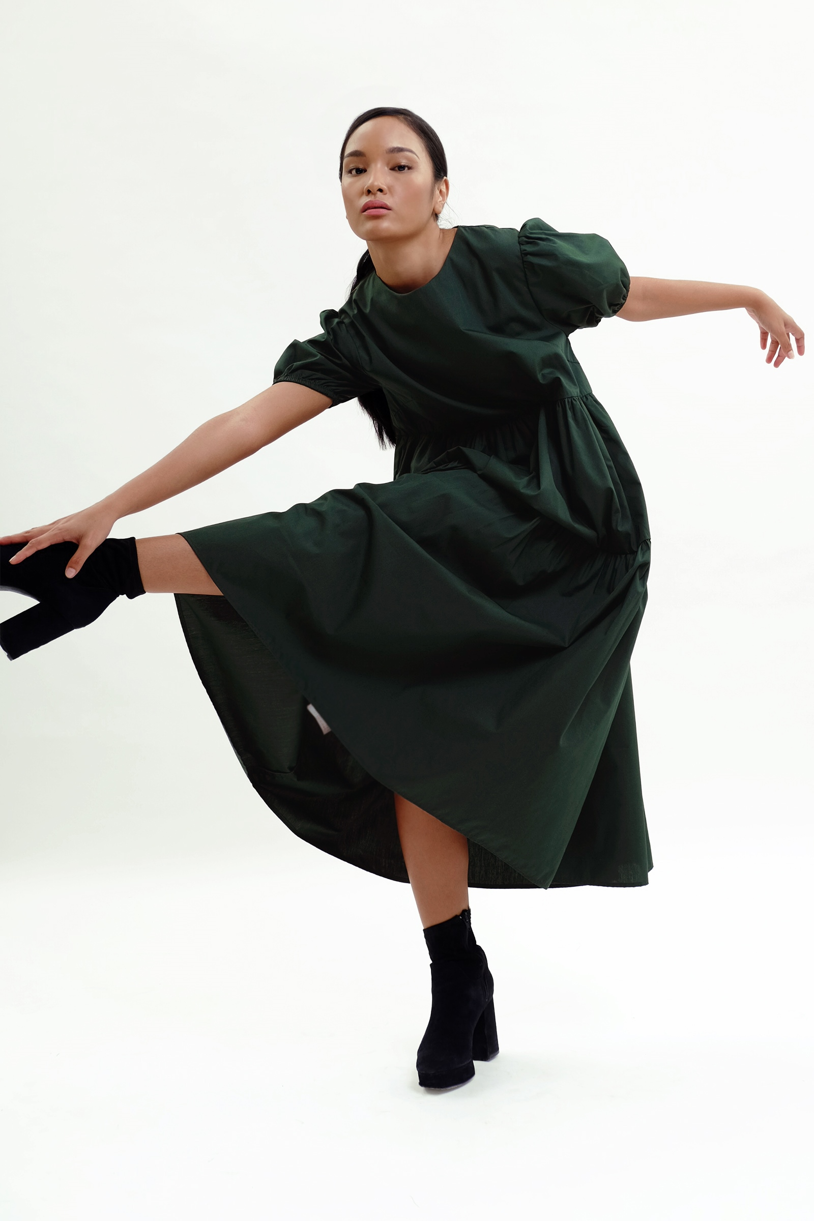Picture of Demelza Tiered Dress  Fir Green