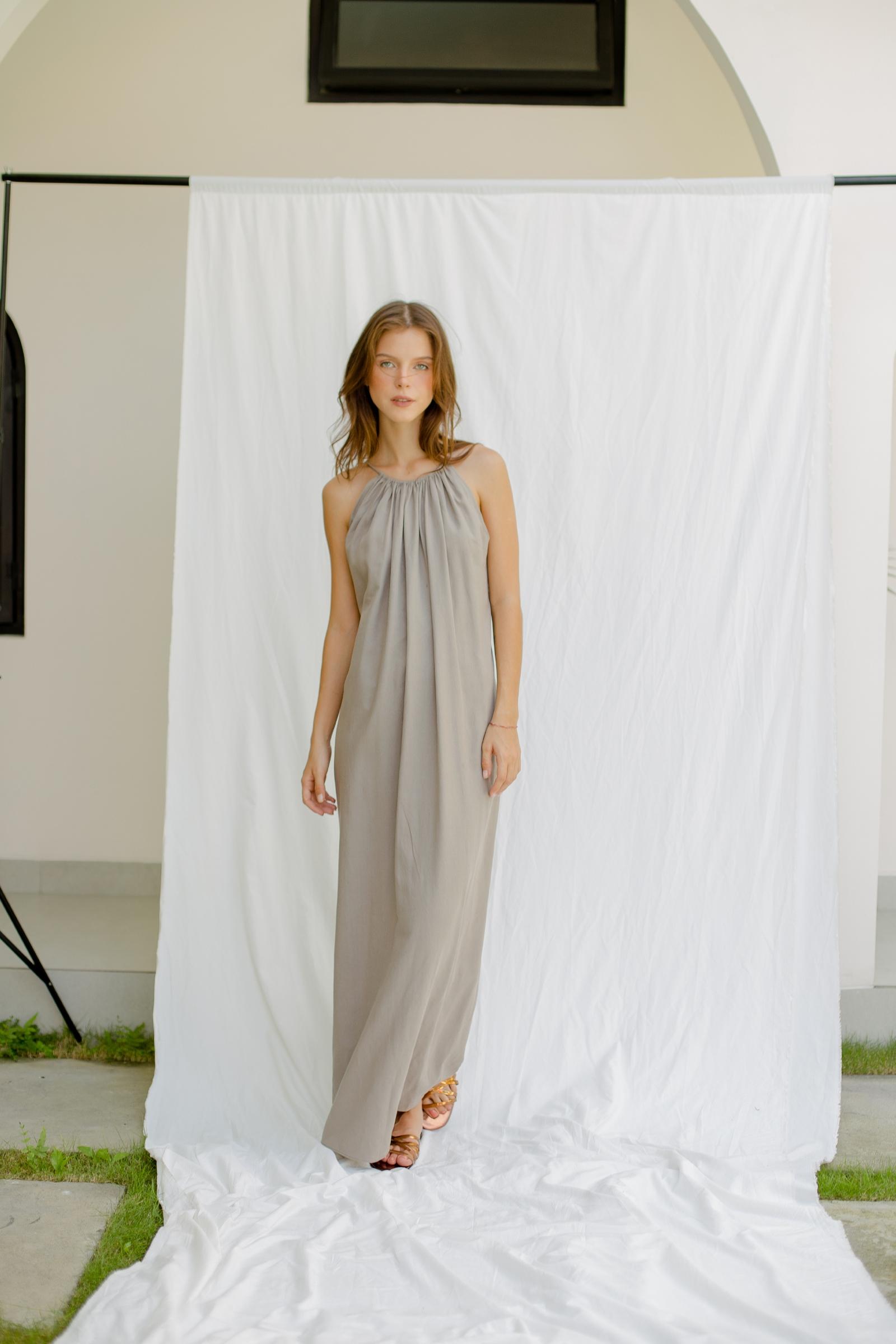 Picture of Calithea Maxi Dress Grey Khaki