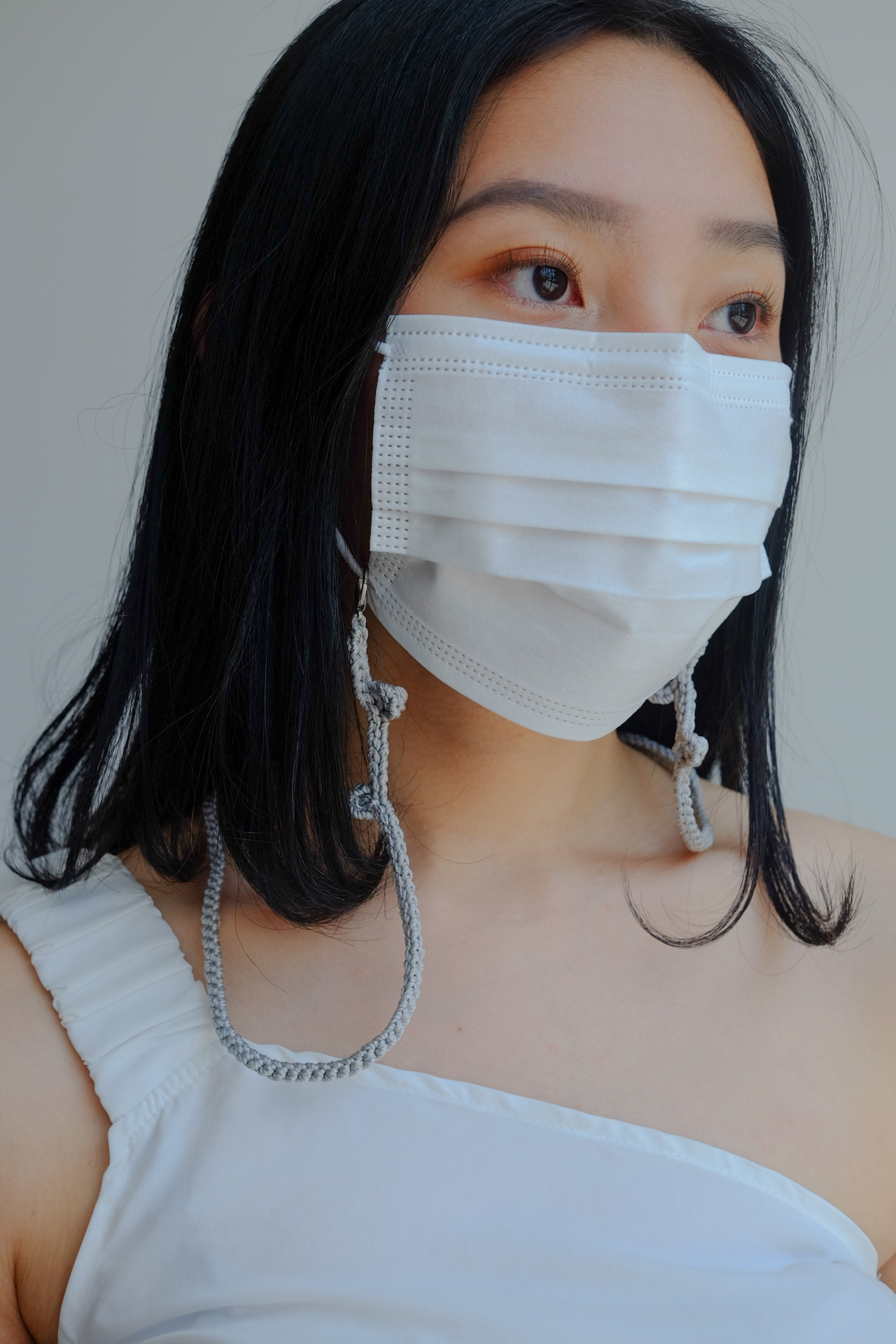 Picture of Handmade Crochet Mask Strap Grey
